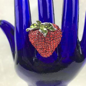 Luscious Red Strawberry Paver Ring-Sz 8